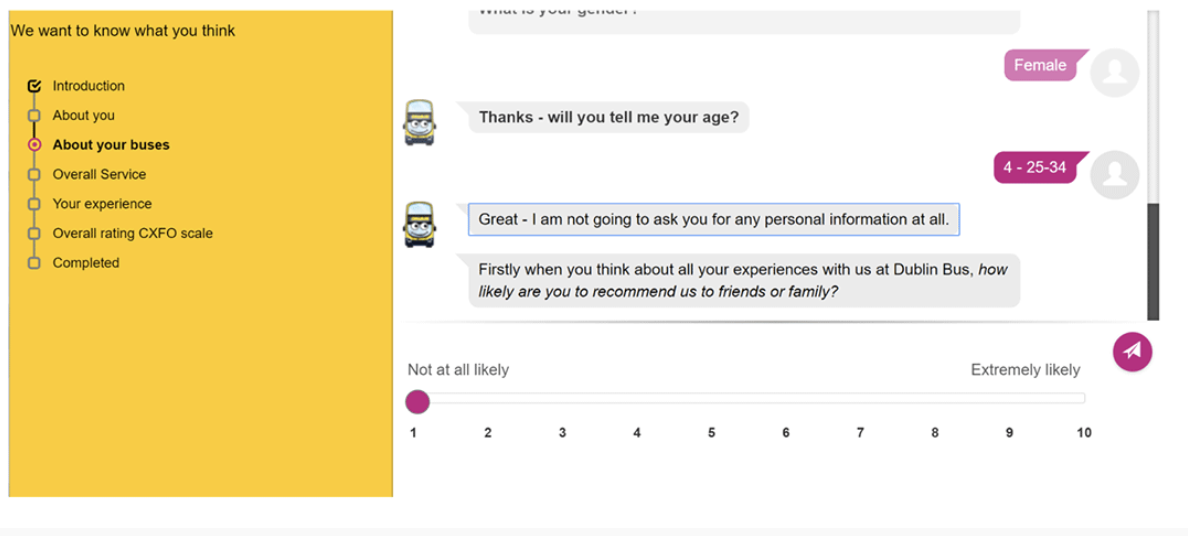 feedback form chatbot